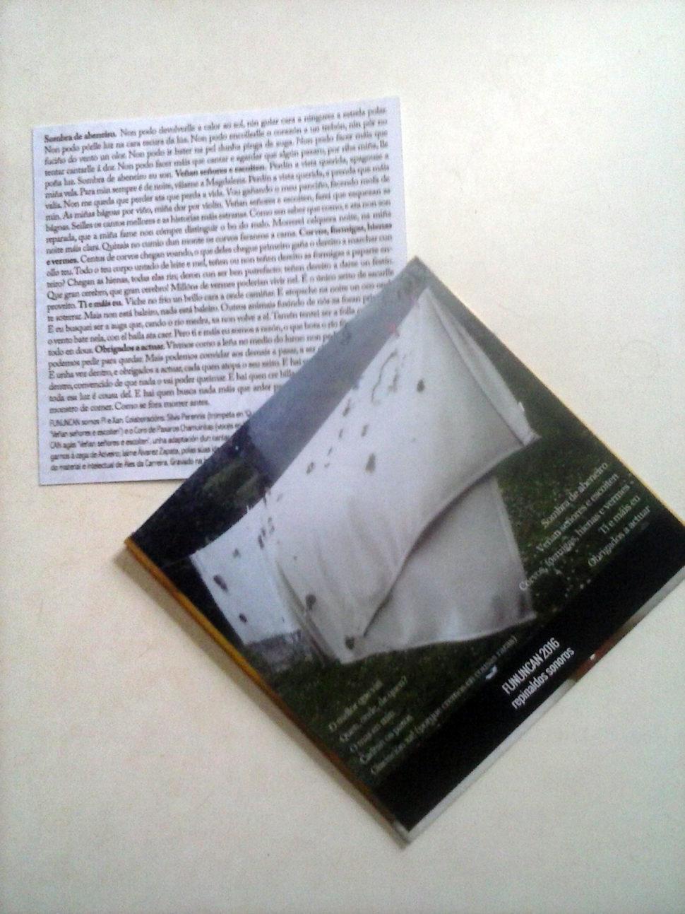 Fununcan 2016 cd editado en cartón con letras, contraportada